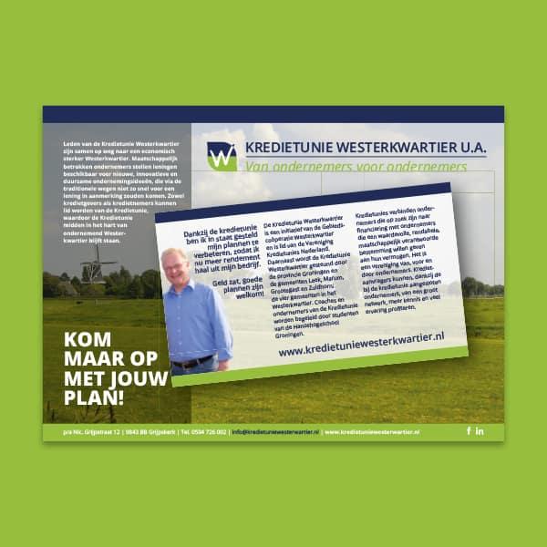Kredietunie Westerkwartier - Klant Reclamebureau RAM - advertentie 'Kom maar op met jouw plan'