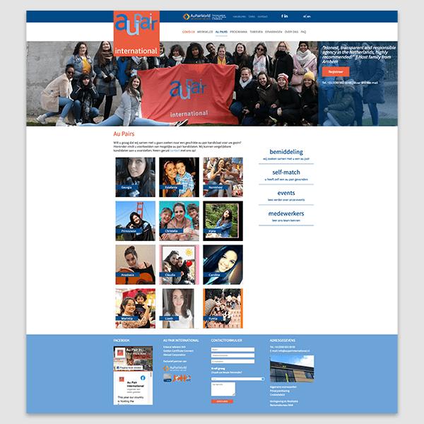 Au Pair International - Klant Reclamebureau RAM - ontwerp + onderhoud website
